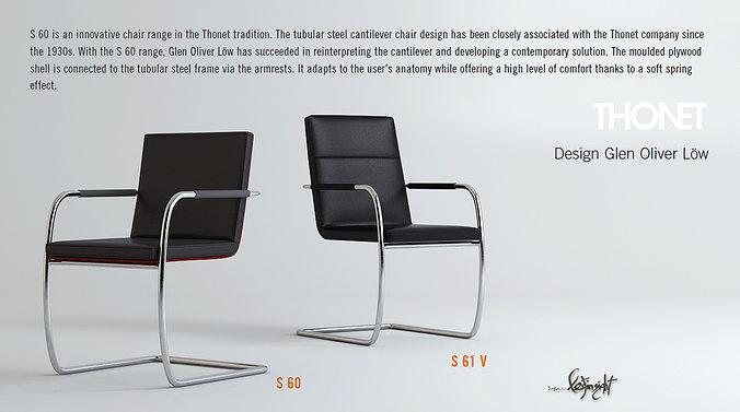 thonet s60 s61v 3d model max 1