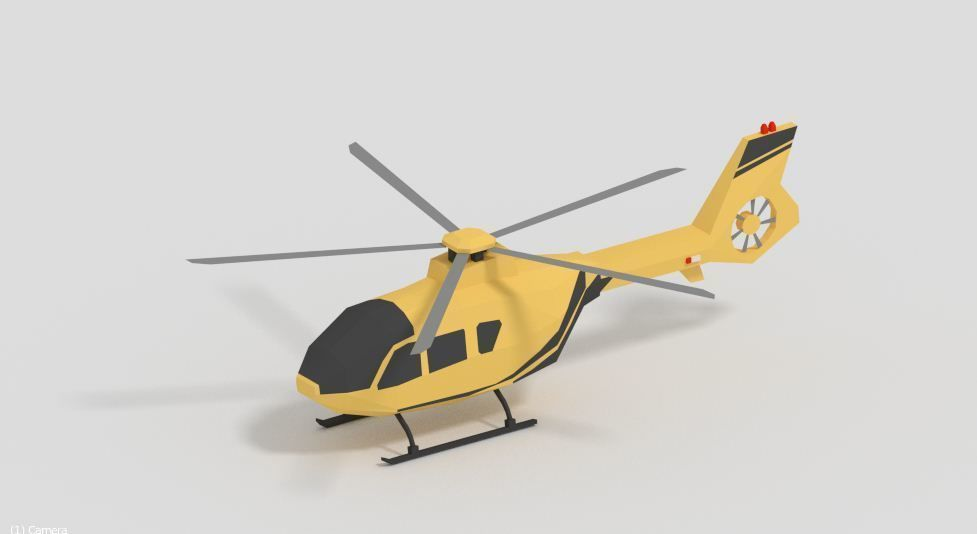 Low Poly  Helicopter Game Ready