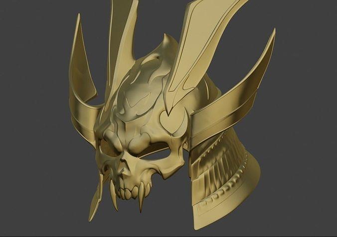 Emperor Shao Kahn samurai helmet for face from Mortal Kombat 11