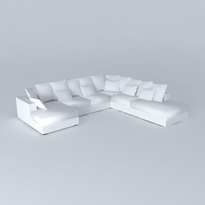 7p loft sofa ivory maisons du monde 3d model max obj 3ds for Canape loft maison du monde