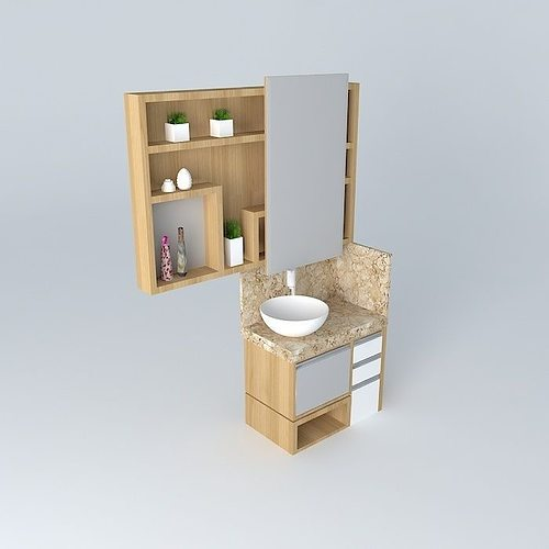 Small bathroom with niches and sliding door free 3d model for 3d bathroom models