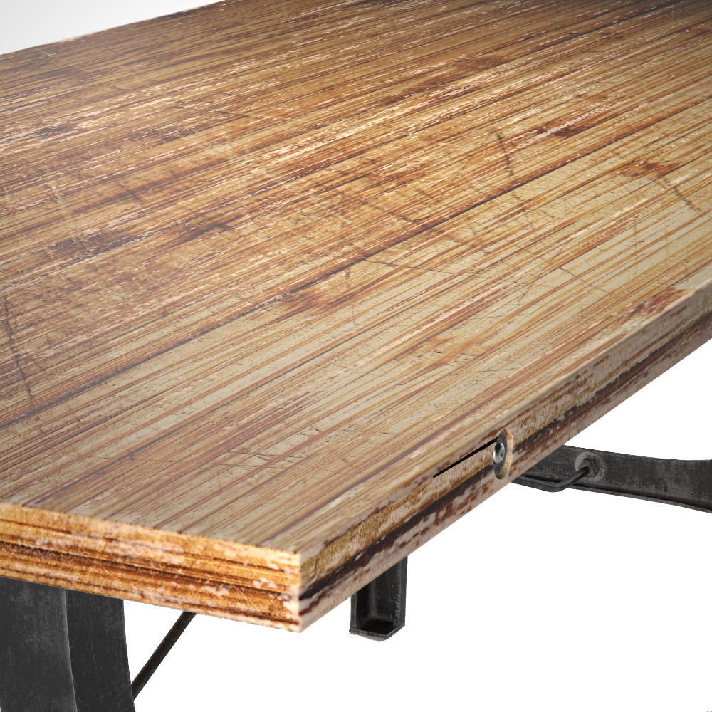 Nuevo V4 A-Leg Small Dining Table with Reclaimed Wood Top 3D model MAX