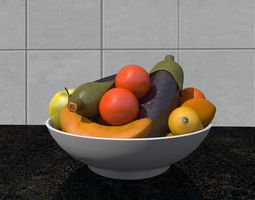 3D model fruit bowl foods
