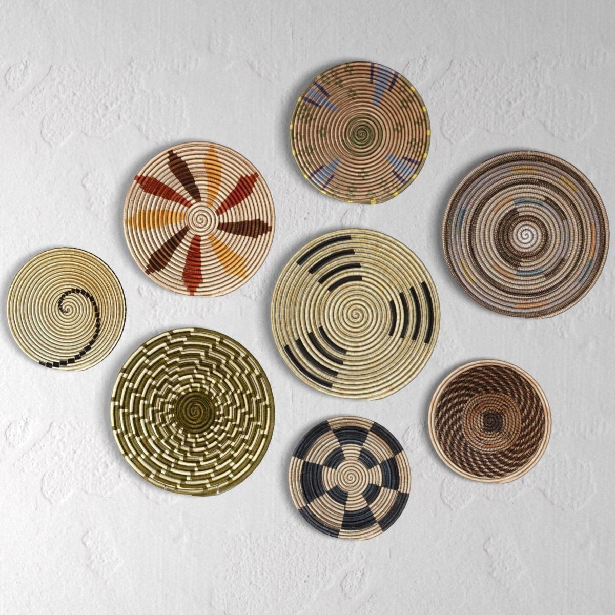 Set Wicker African Wall Baskets 3d Cgtrader