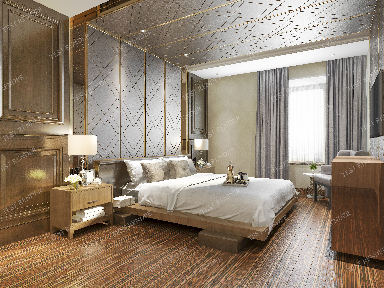 3D model luxury classic modern bedroom suite 2