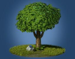 cartoon tree 3d asset