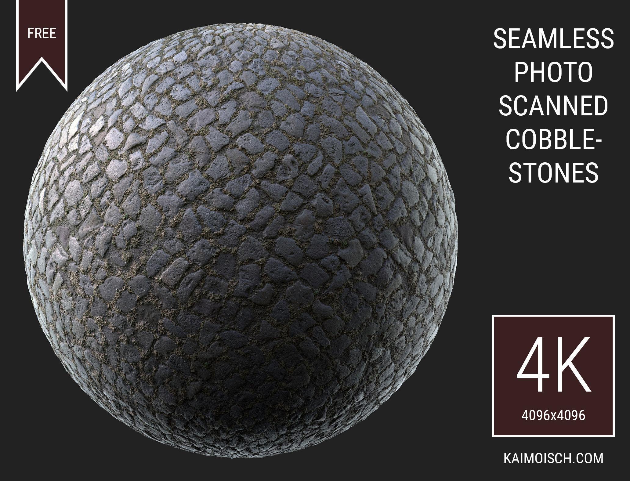 3D Scanned Seamless Cobblestone Pavement