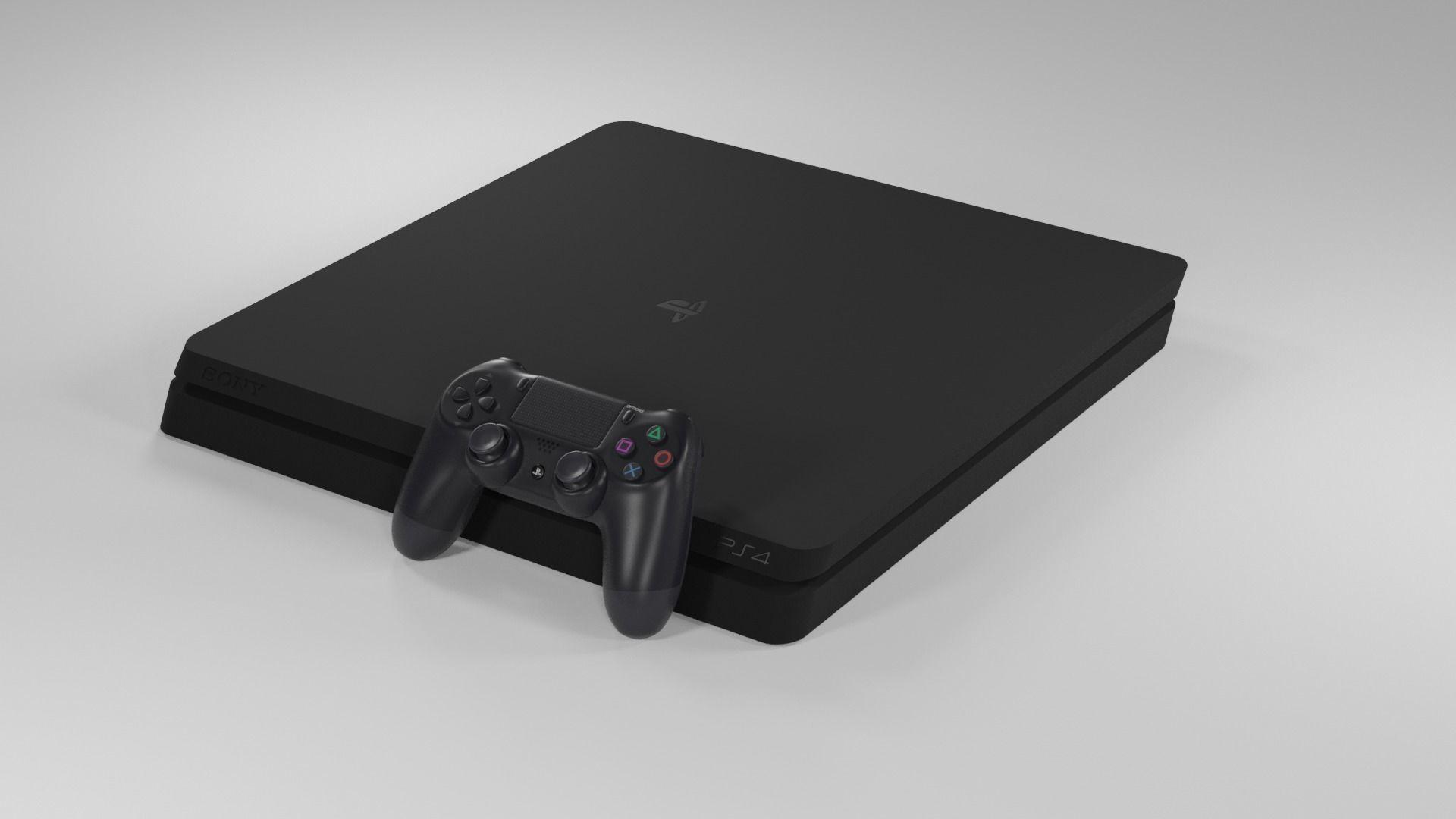 Sony Playstation 4 Slim Low Poly Free 3D model