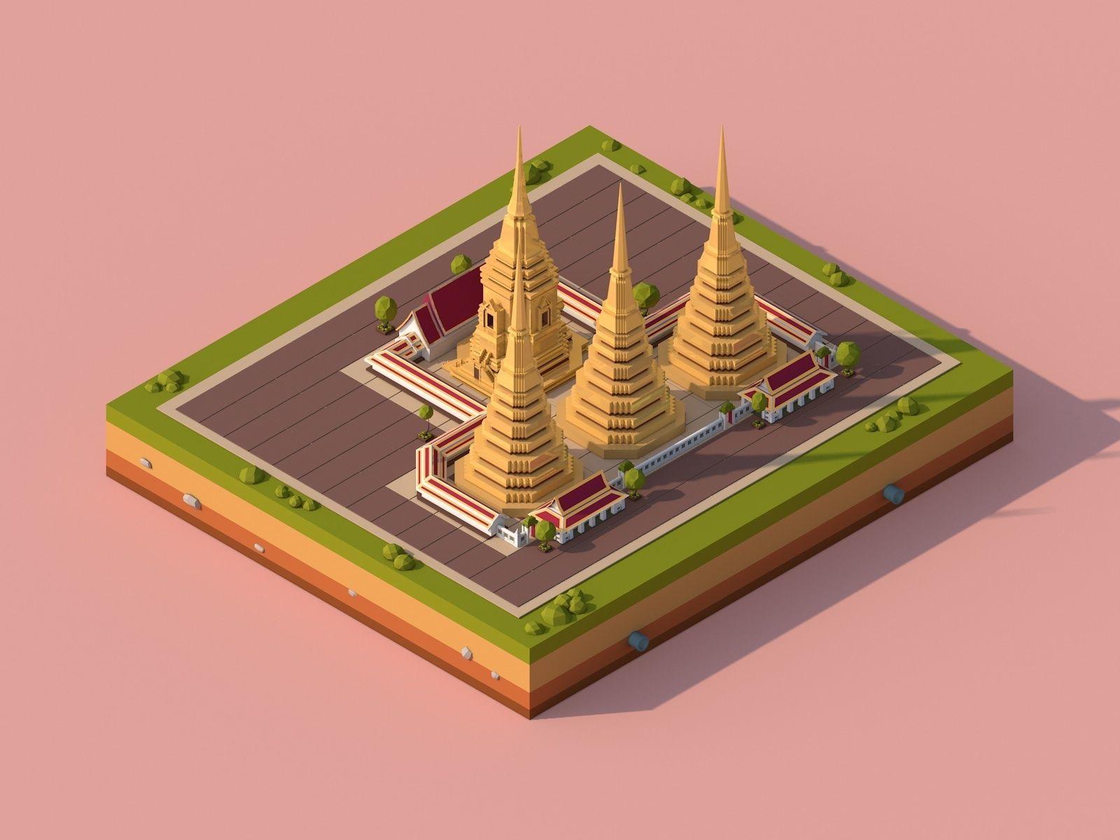 Cartoon Lowpoly Wat Pho Buddhist Temple