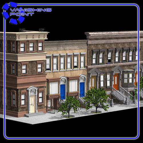 brownstone street scene 1 3d model obj 3ds mtl 1