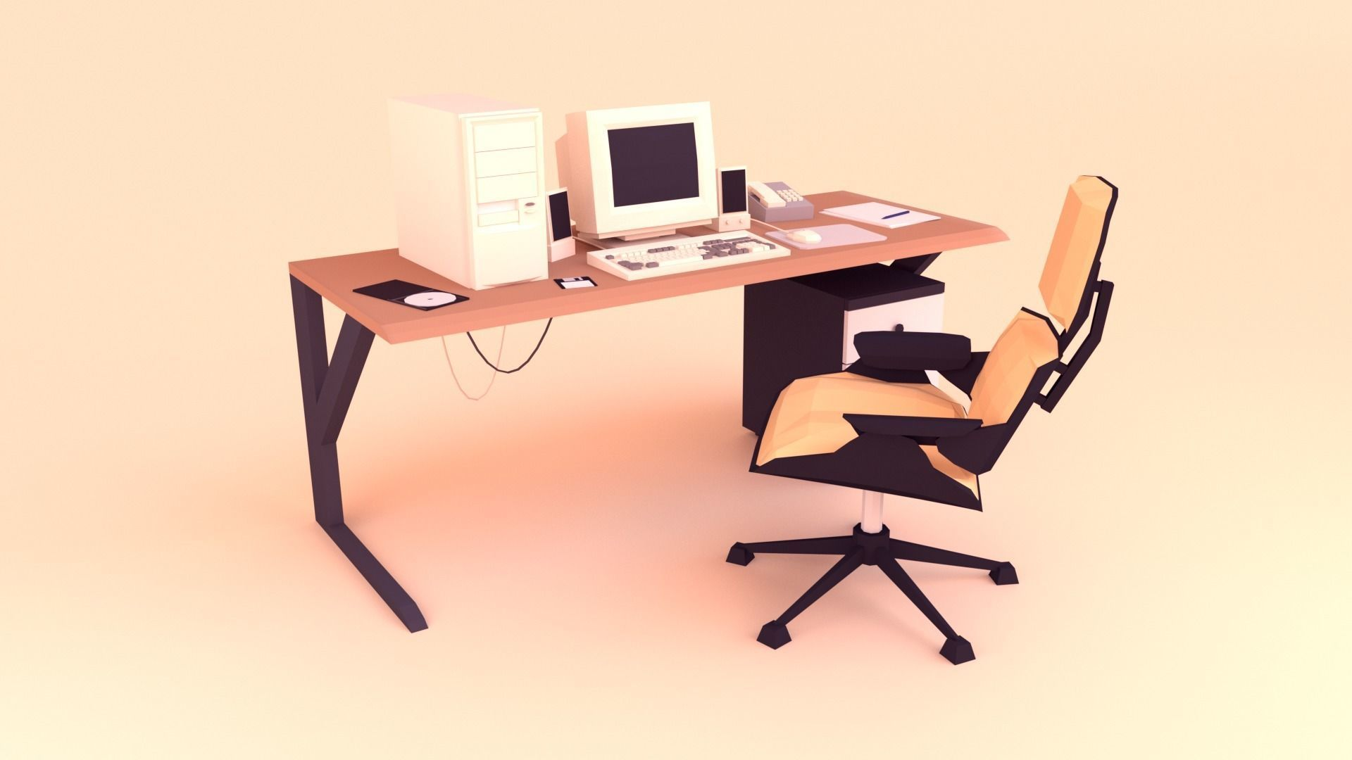 Low Poly Computer Desk