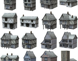 3d model low polygon medieval buildings VR / AR ready