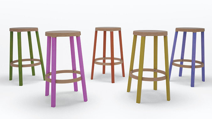 step high stool by established and sons 3d model obj 3ds c4d 1