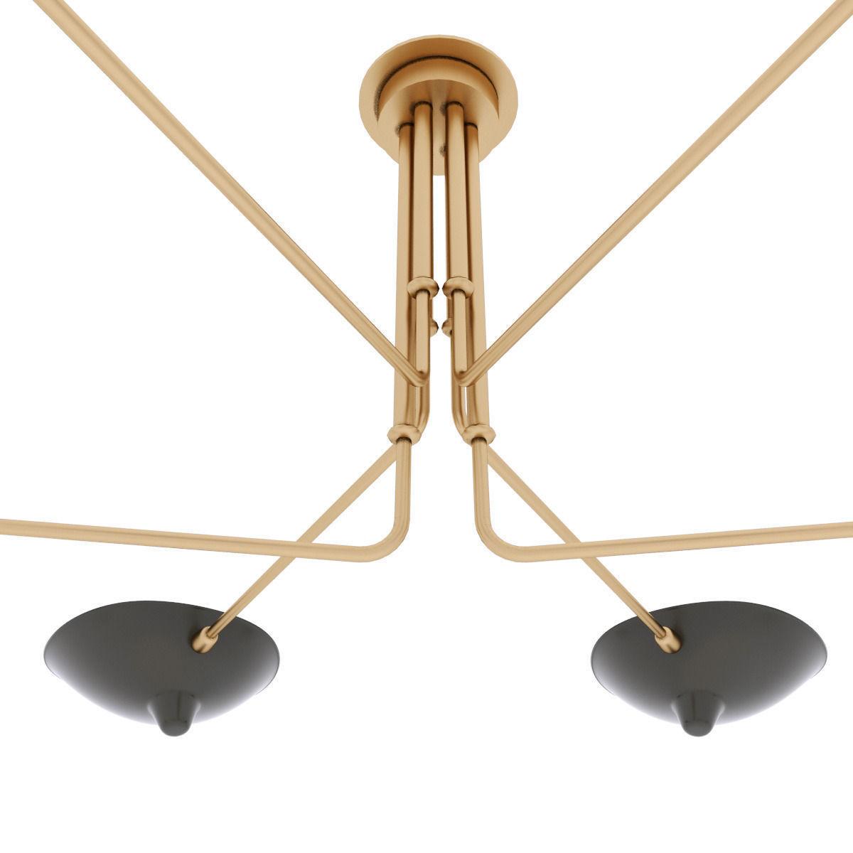 serge mouille chandelie 6 arms 3d model max obj 3ds fbx mtl. Black Bedroom Furniture Sets. Home Design Ideas