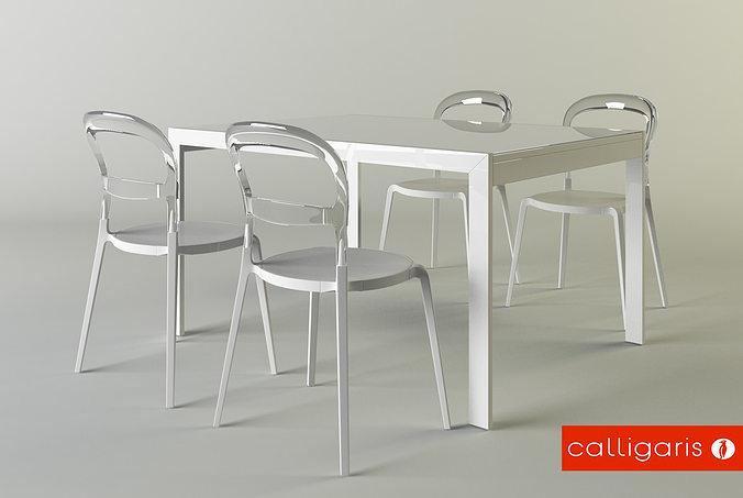 3d calligaris set chair wien table key cgtrader for Calligaris key table