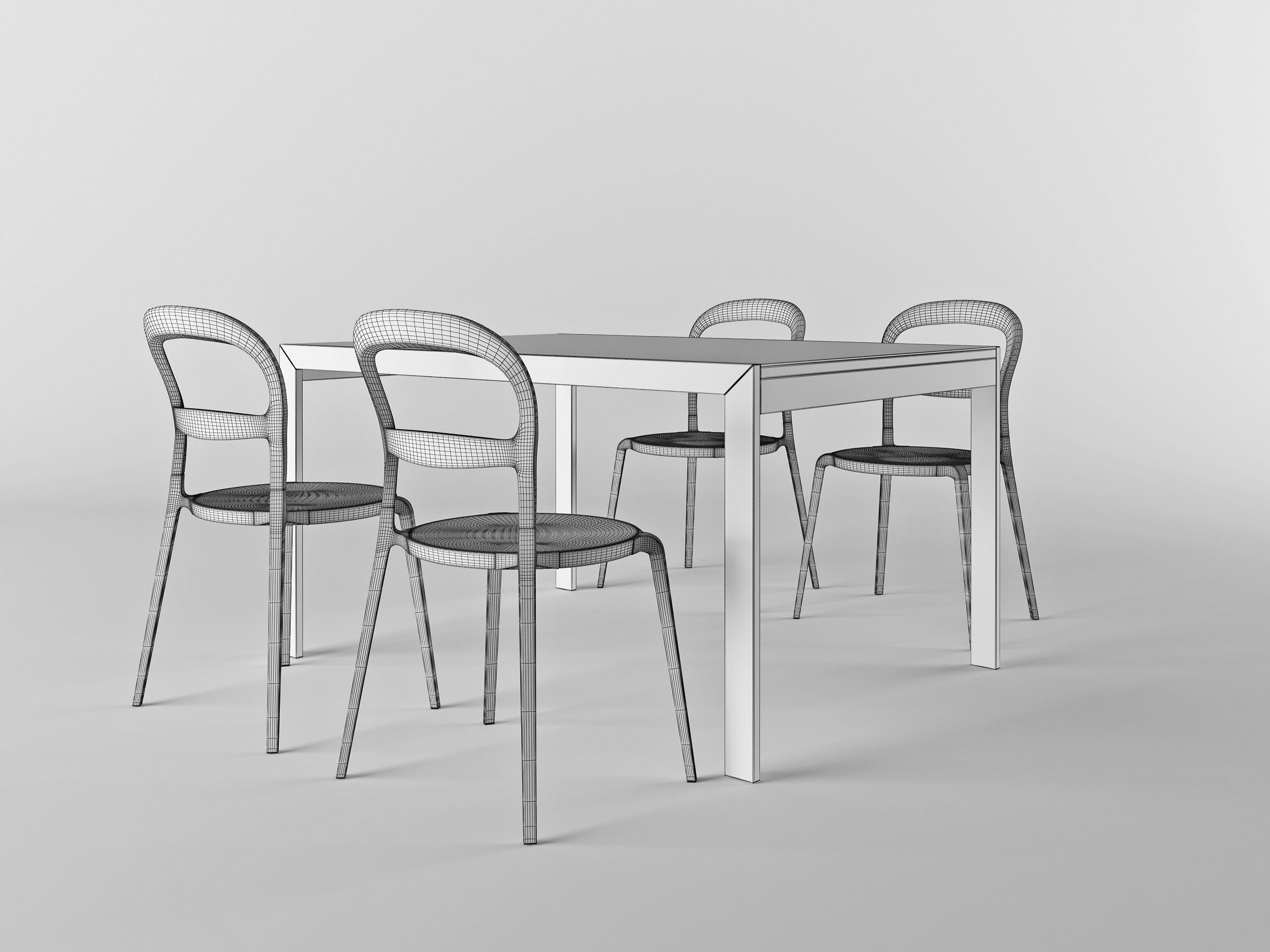 Calligaris set chair wien table key 3d model max obj 3ds for Calligaris key table