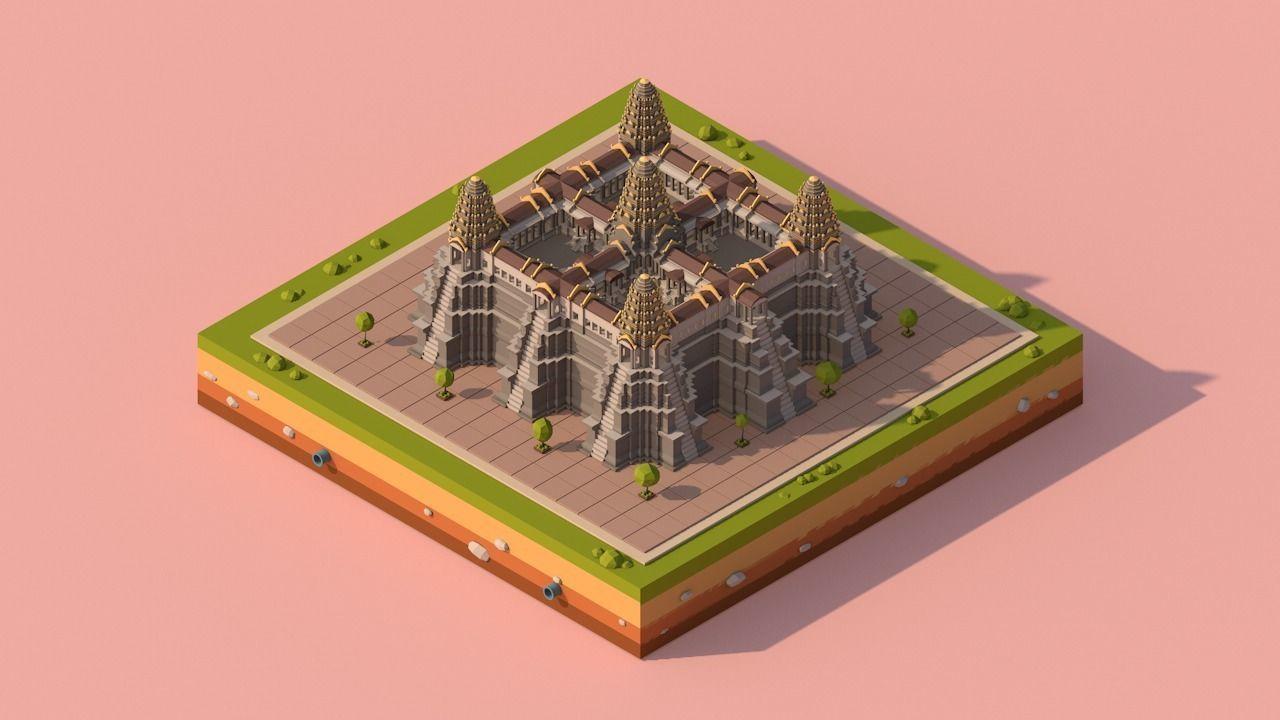 Cartoon Low Poly Ankor Wat Temple