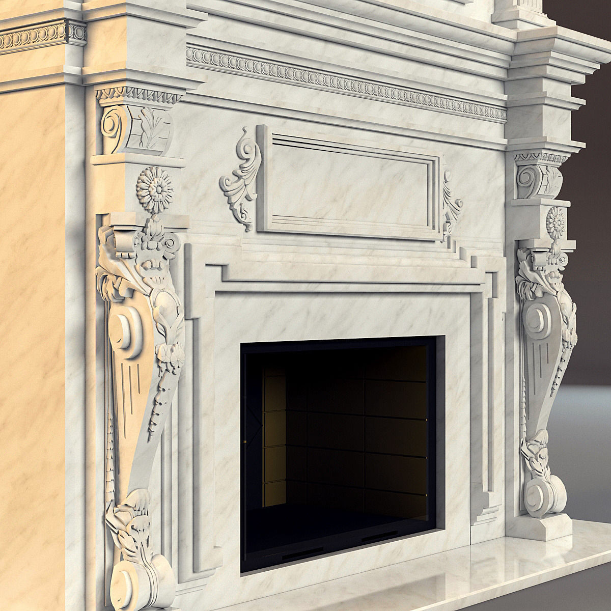 3D classical marble fireplace   CGTrader