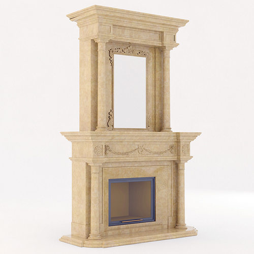 classical marble fireplace 3 3d model max obj 3ds fbx mtl 1