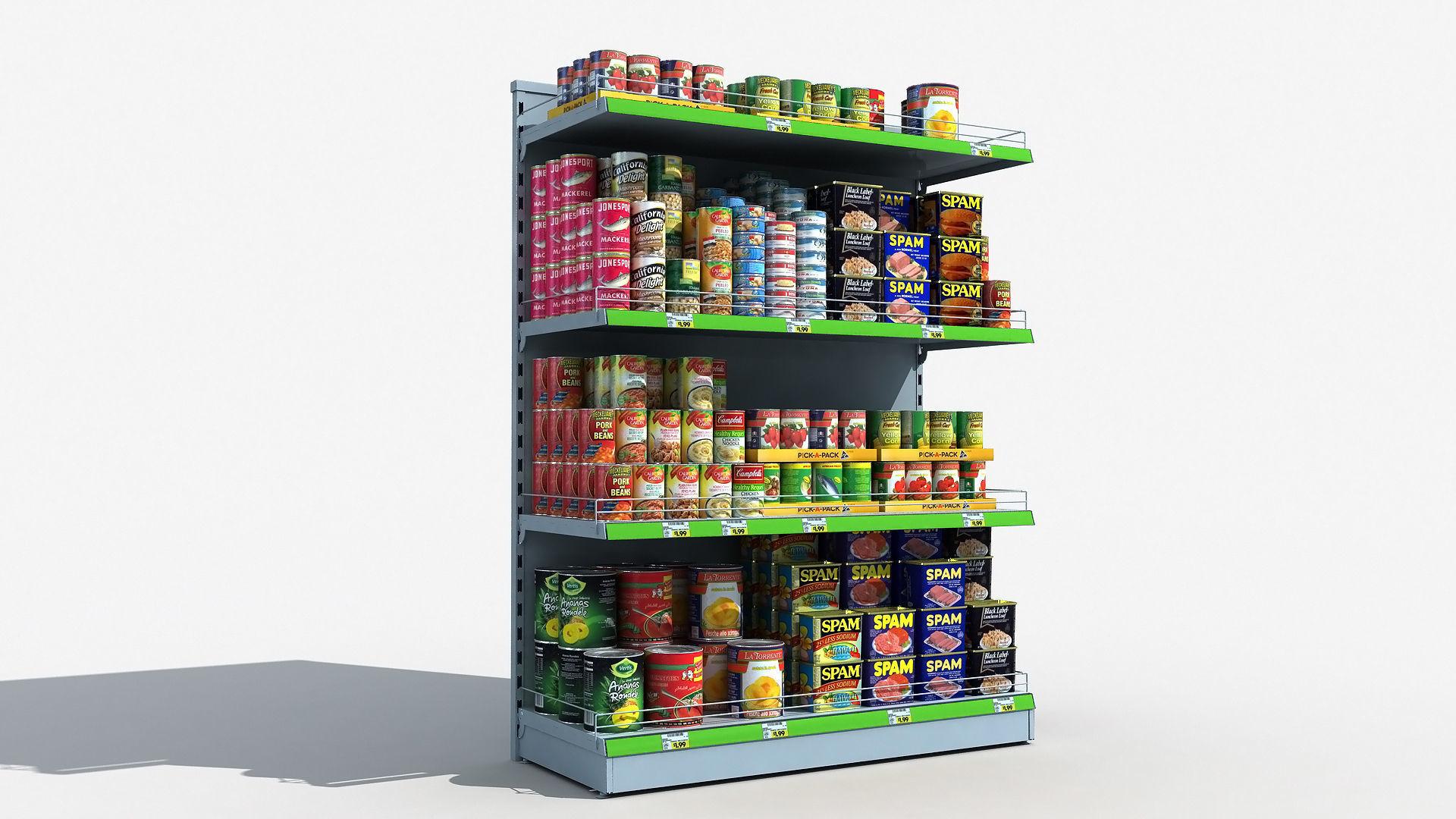 Supermarket Shelves Canned Food