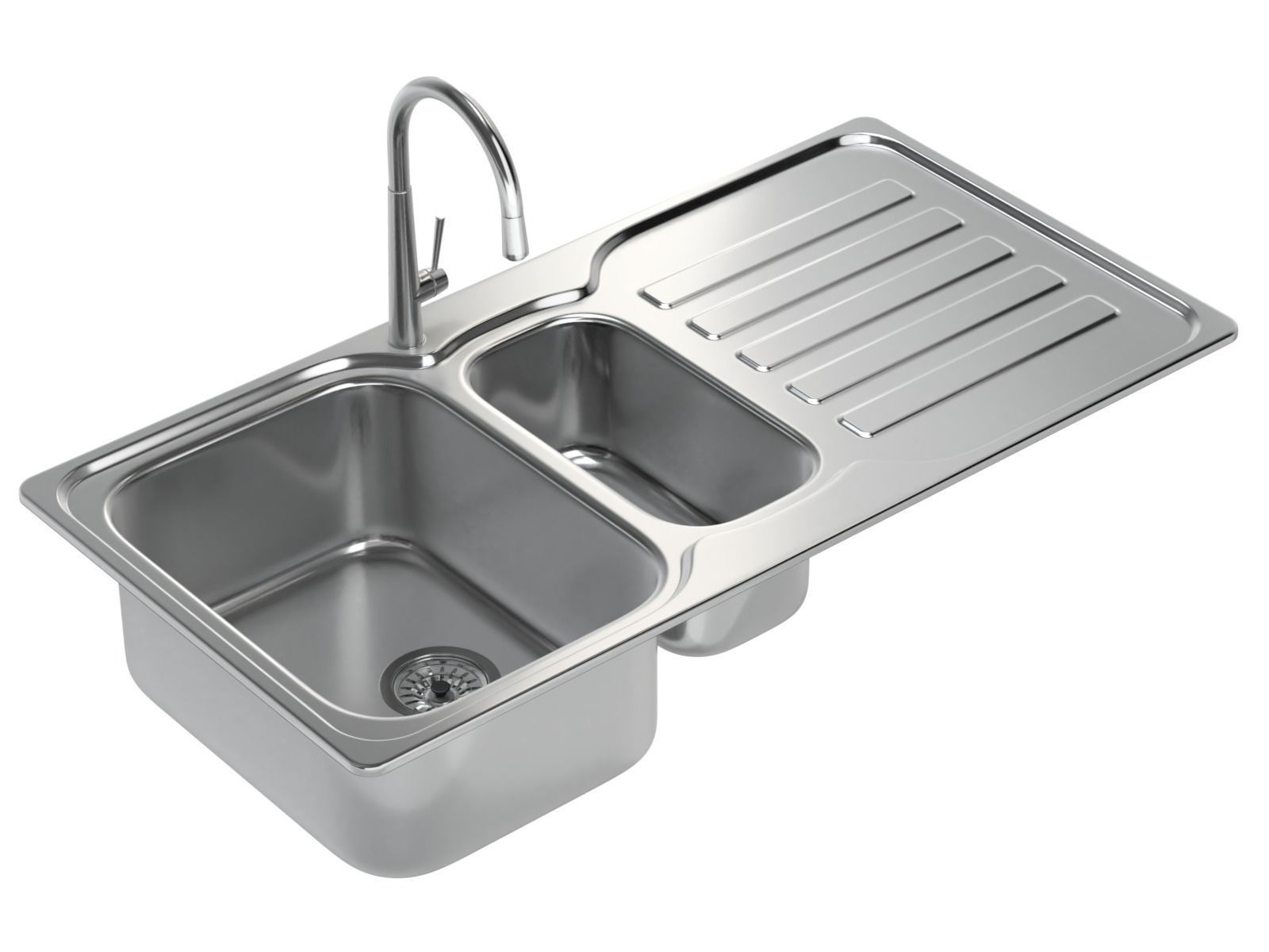 Kitchen Sink with double Bowl Tap and Drain