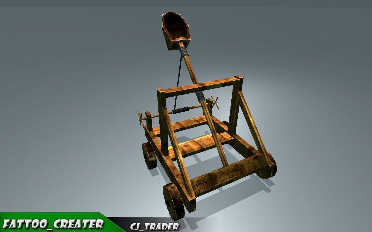 Medieval Animated Catapult Low-poly 3D model
