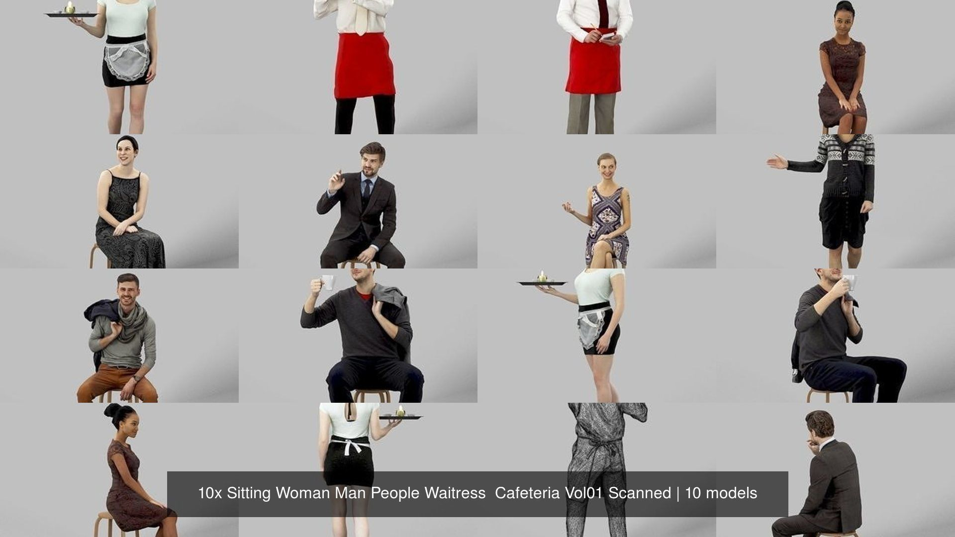 10x Sitting Woman Man People Waitress  Cafeteria Vol01 Scanned