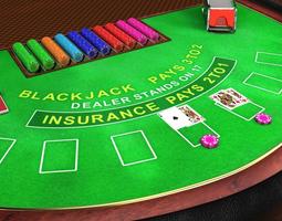 3d asset low-poly professional blackjack table