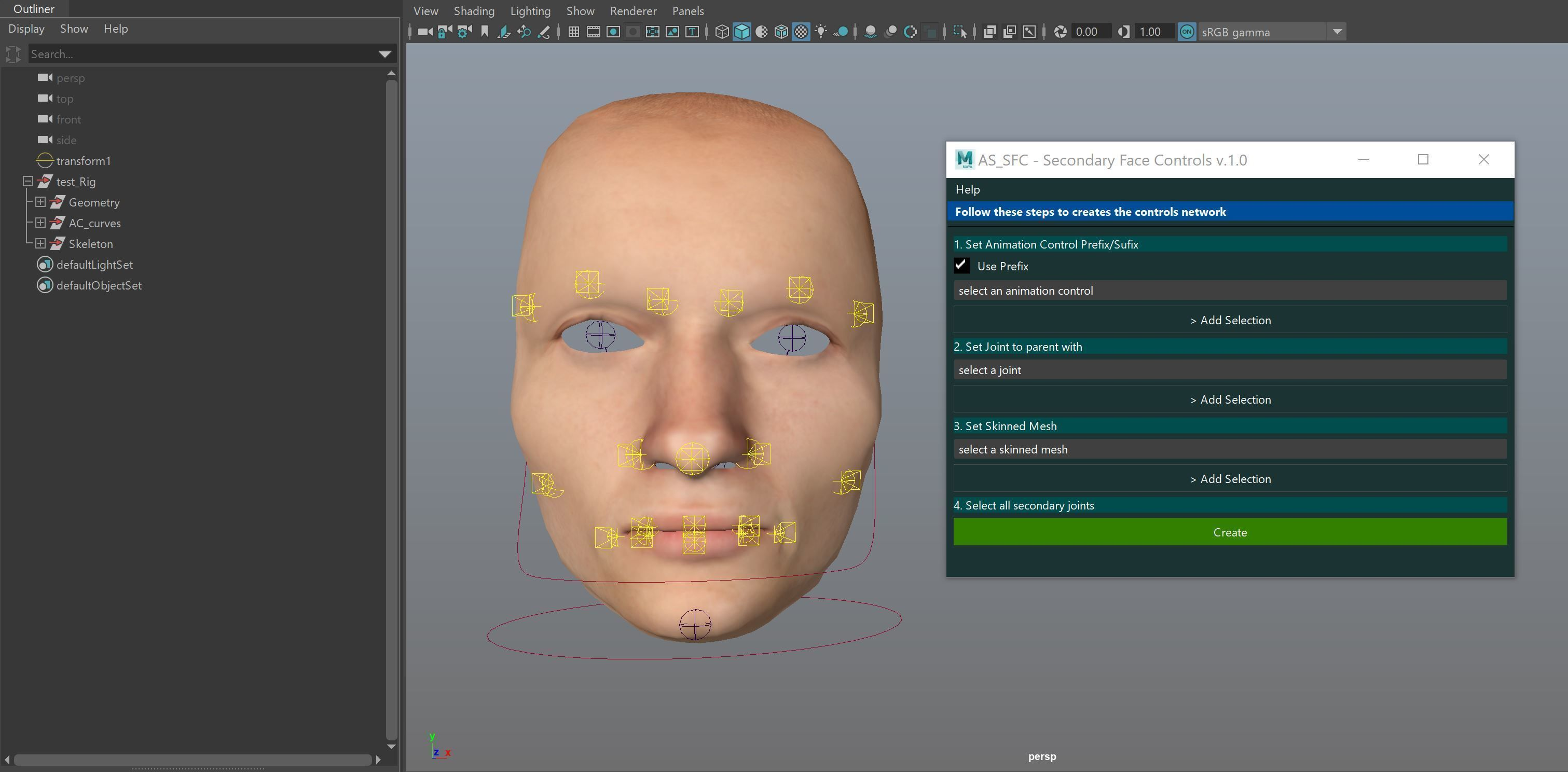 AS SFC - Secondary Face Controls for Maya