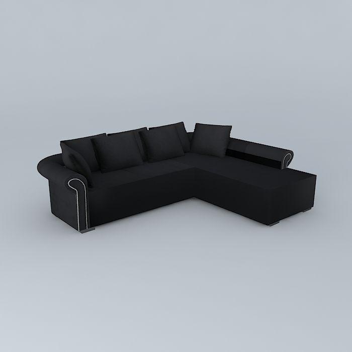 Sofa angle black PLAZZA