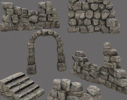 low-poly 3d asset wall set