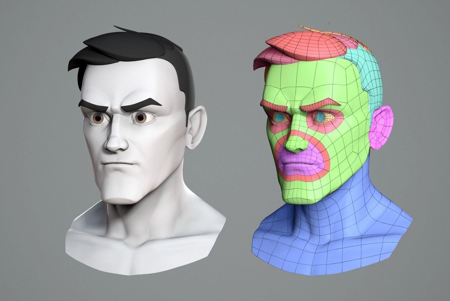 Male cartoon character base mesh