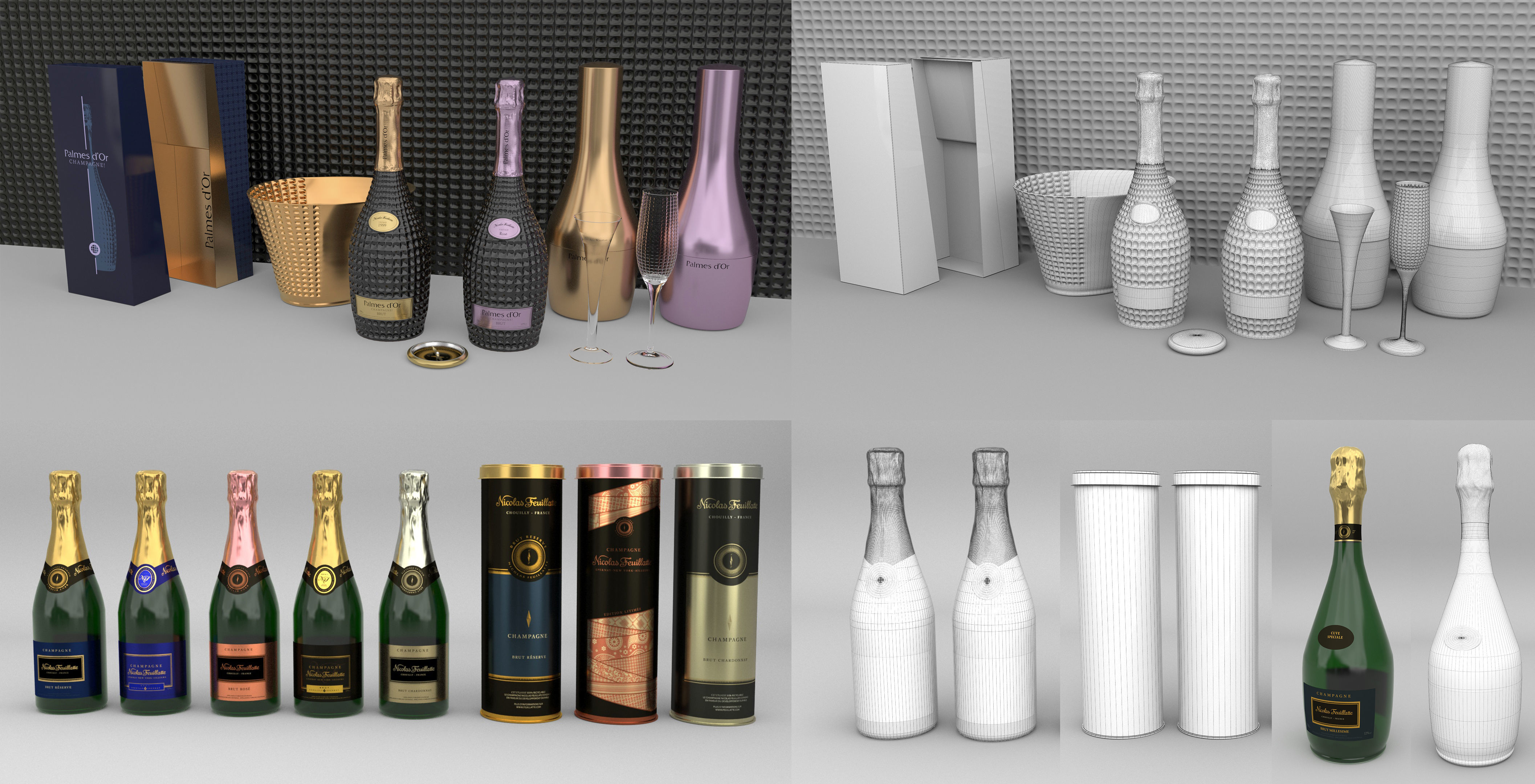 Cgtrader - Nicolas Feuillatte All Champagne Bottles and Packages Pack 3D Model Collection