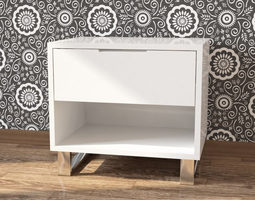 Bedside white nightstand 3D model