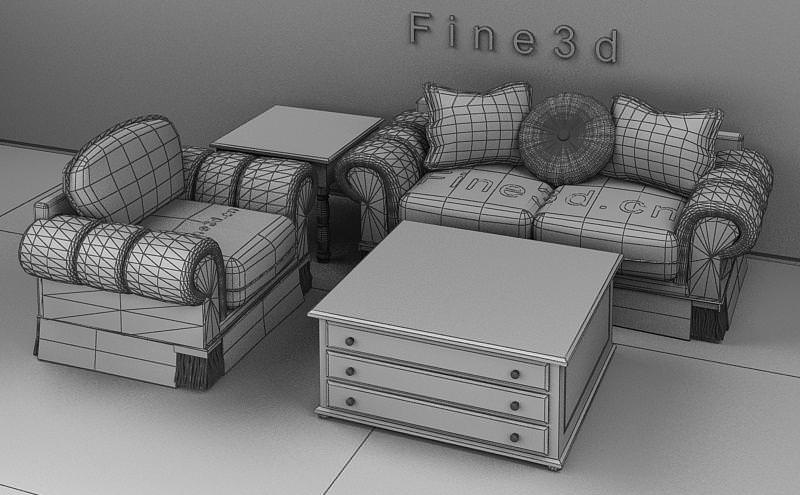 Comfortable living room set collection 3d model for Comfortable living room sets