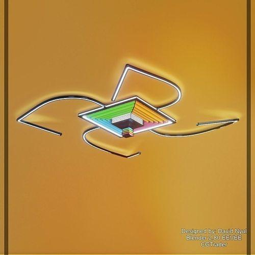 Ceiling Lamp Optical Illusion Squares  unique design low-poly