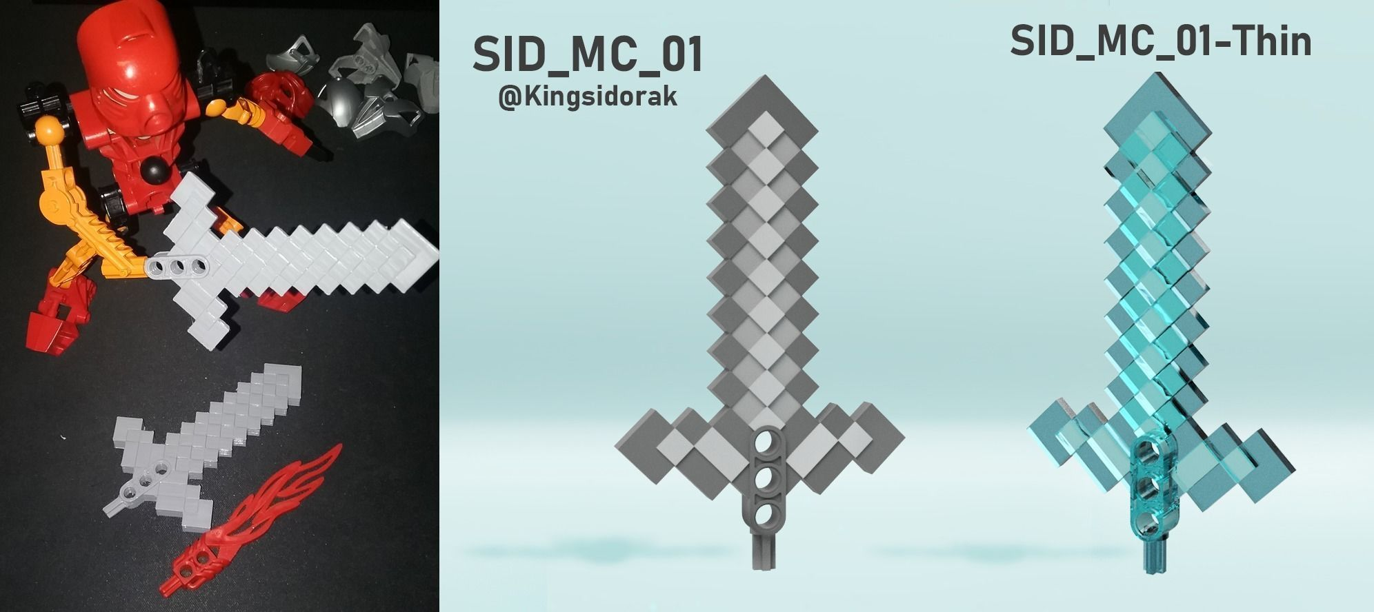 image about Minecraft Sword Printable identified as Lego BIONICLE Minecraft Sword 3D Print Design