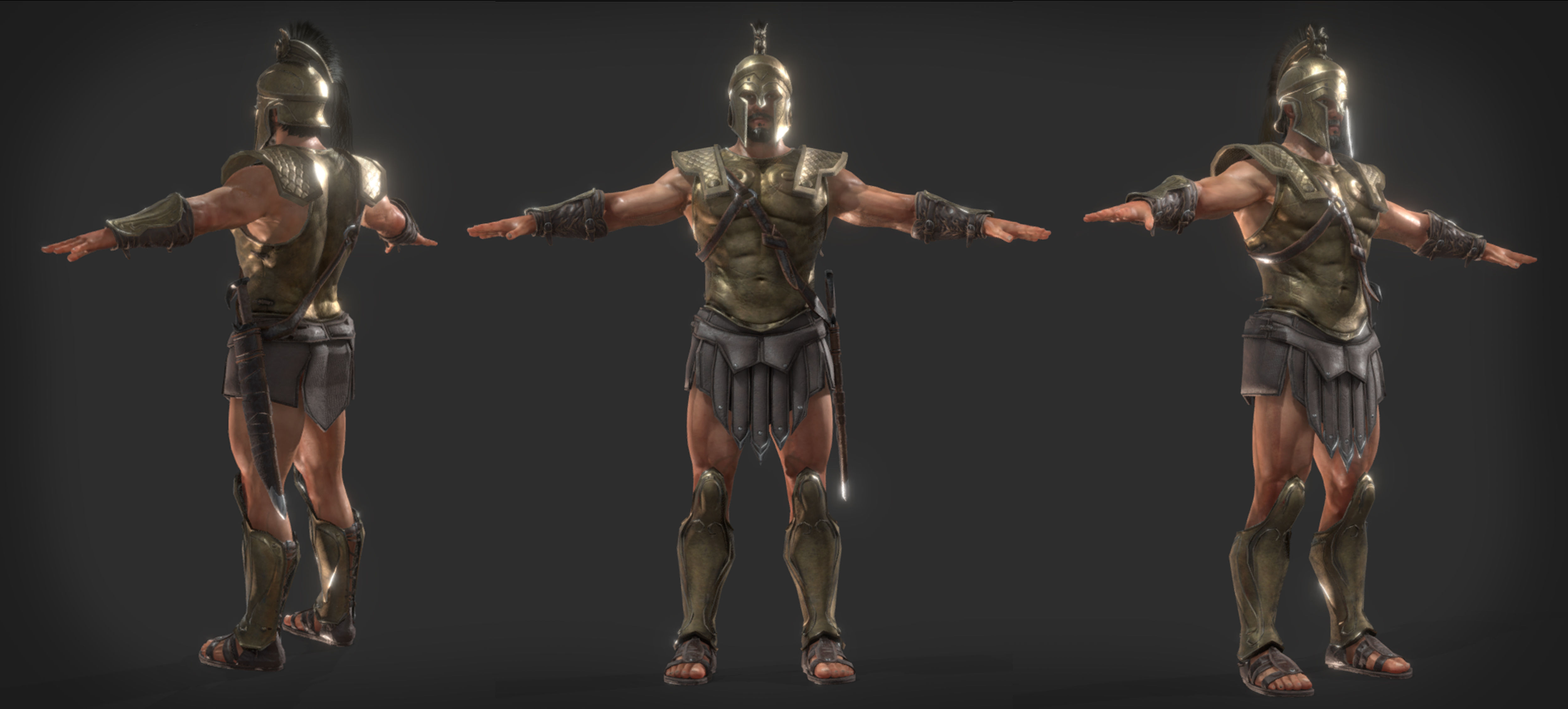 Spartan Warrior A pose for Game 3D model | CGTrader