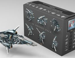 cybertech drone pack  - 10 low poly textured models  game-ready