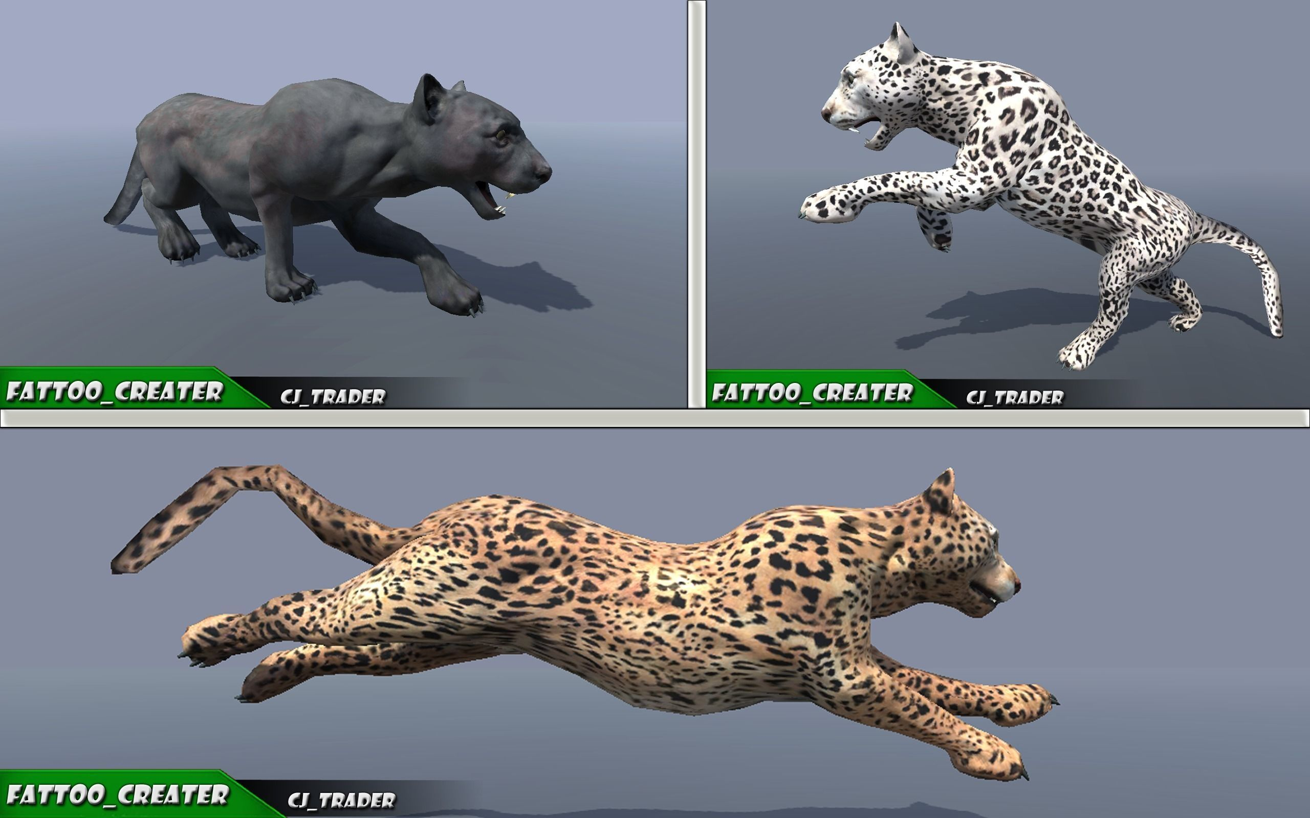 Lowpoly Wild Animal Leopard-Cats Collection Pack Rigged 3D model