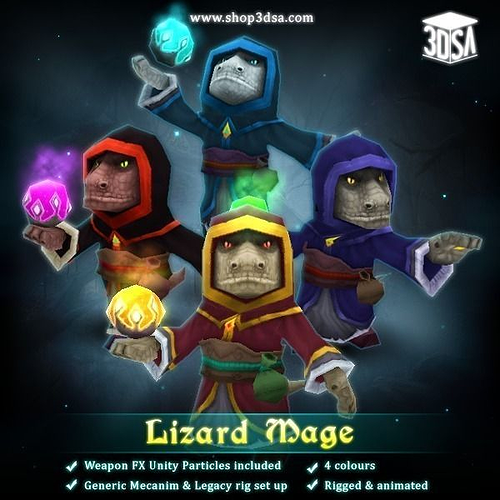 lizard mage 3d model low-poly rigged animated fbx tga unitypackage prefab pdf 1