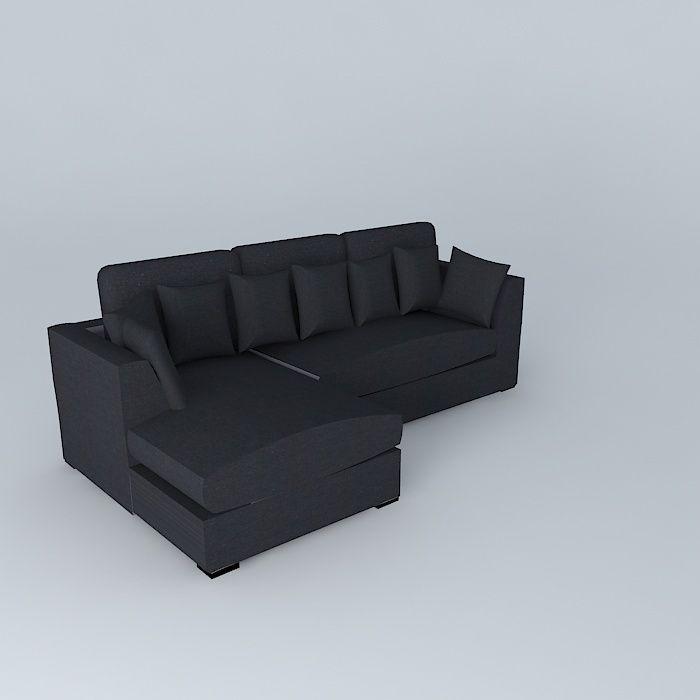 Swell Slate Gray Sofa Long Island 3D Model Interior Design Ideas Clesiryabchikinfo