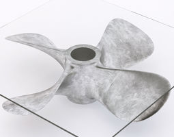 3d model glass coffee table with a ship propeller