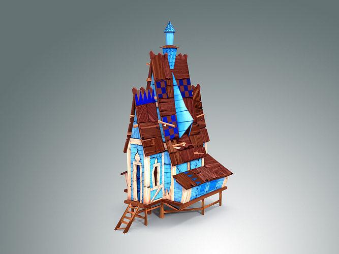 low poly stylized wooden house 3d model low-poly max obj fbx c4d ma mb mtl 1