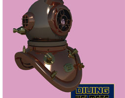 3D asset Chinese diving helmet