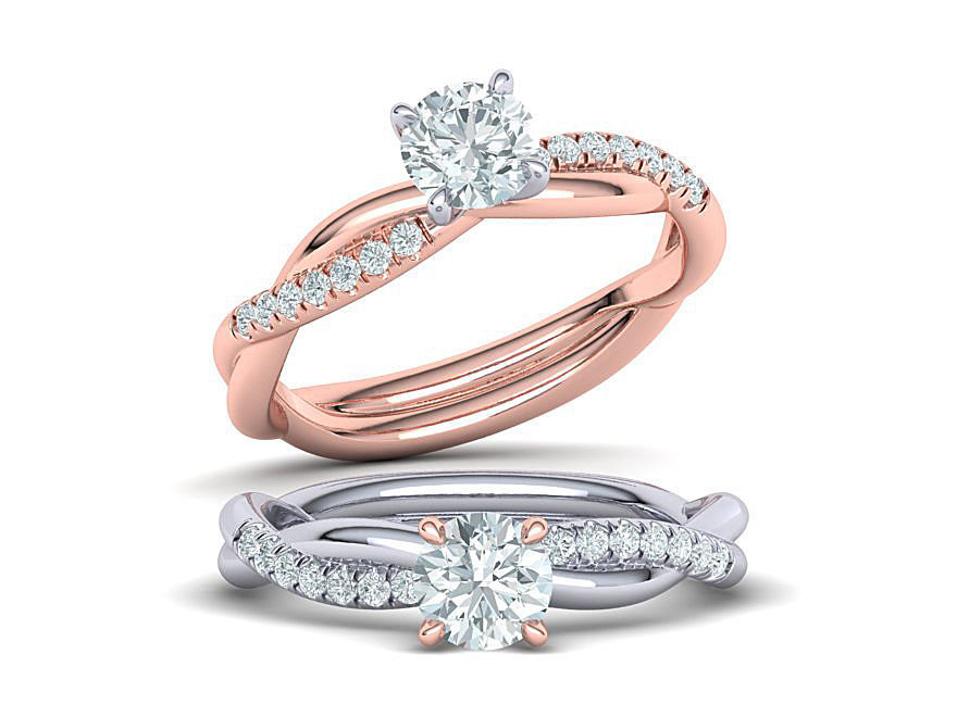 Gorgeous rope style twisted engagement ring 5mm stone 3dmodel