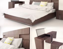 Modern Bed with bedding furniture 3D
