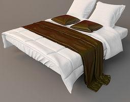 3D model sleep sleeping Modern Bed with bedding