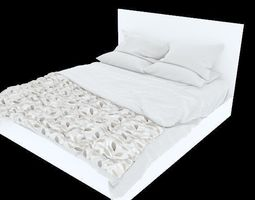Modern Bed with bedding sleep bedroom 3D