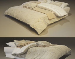 Modern Bed with bedding pillow sleeping 3D model